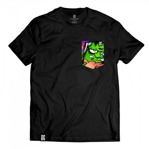 Tričko s vreckom krátky rukáv grafický dizajn Green Head