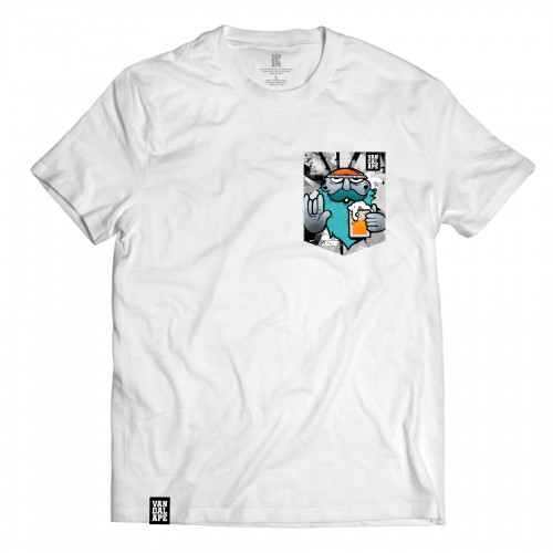 Tričko s vreckom krátky rukáv grafický dizajn Hipster Beer