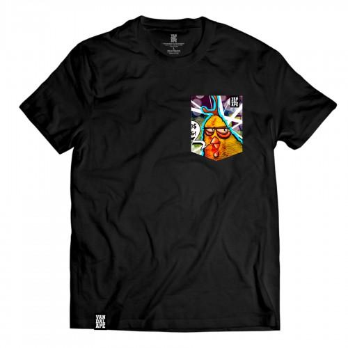 Tričko s vreckom krátky rukáv grafický dizajn Angry Hen