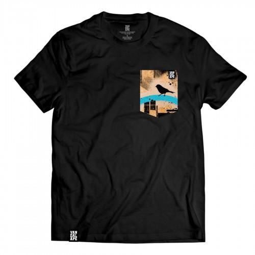 Tričko s vreckom krátky rukáv grafický dizajn Birdie