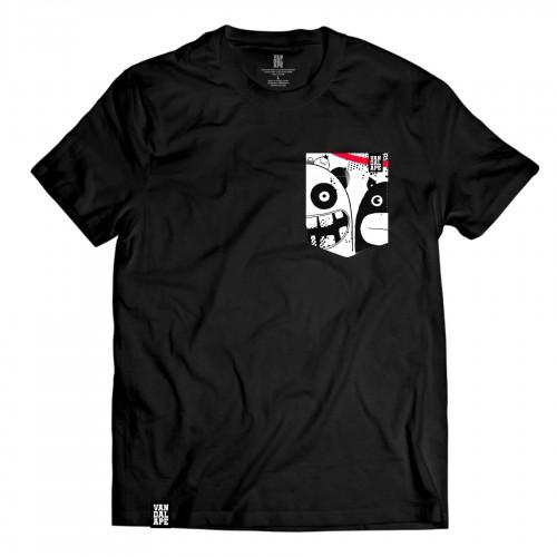 Tričko s vreckom krátky rukáv grafický dizajn New Friends