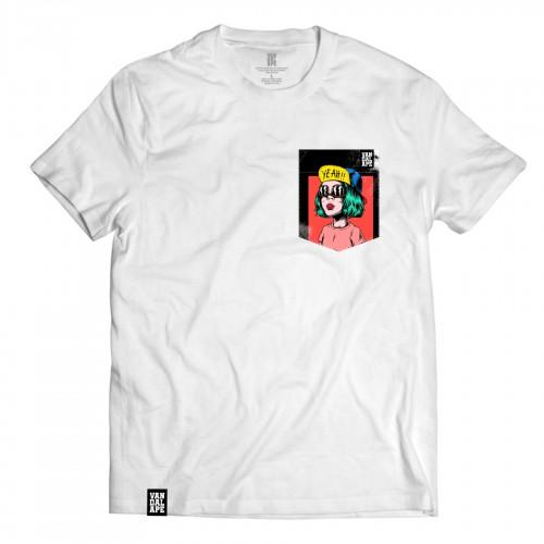 Tričko s vreckom krátky rukáv grafický dizajn Yeah!!