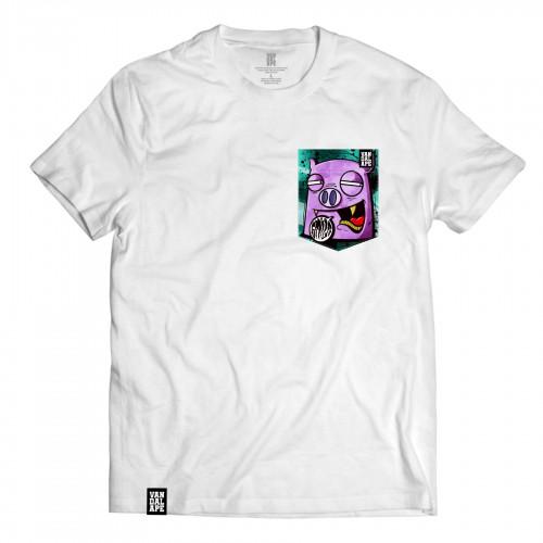 Tričko s vreckom krátky rukáv grafický dizajn Smile Piggy