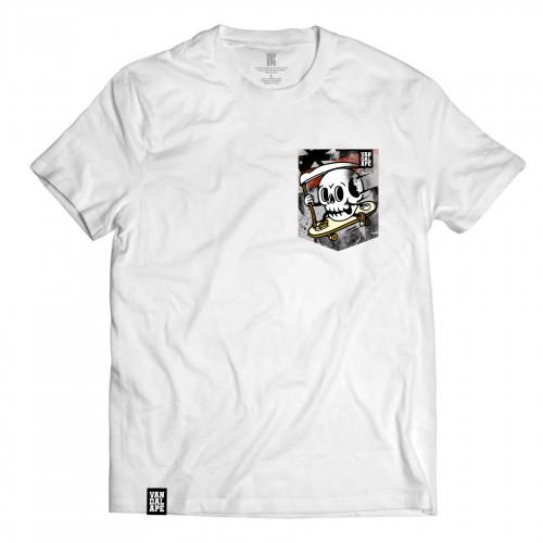 Tričko s vreckom krátky rukáv grafický dizajn Skate or Die