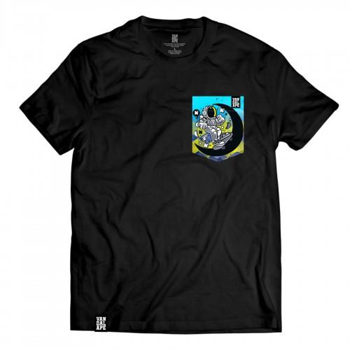 Tričko s vreckom krátky rukáv grafický dizajn Space Skater