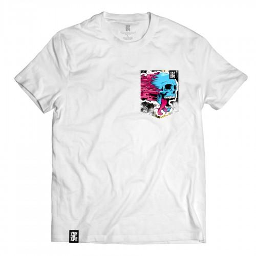 Tričko s vreckom krátky rukáv grafický dizajn Blue Skull