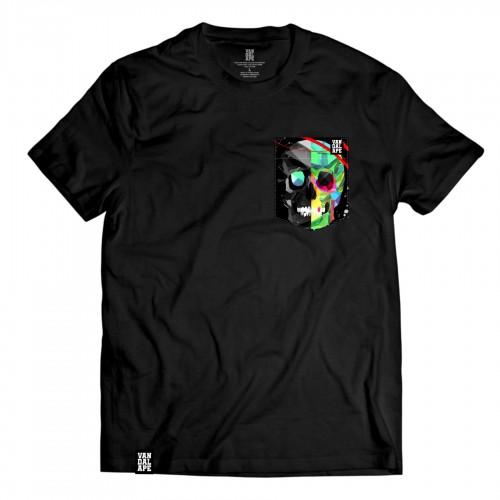 Tričko s vreckom krátky rukáv grafický dizajn Polygon Skull