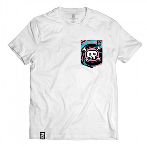 Tričko s vreckom krátky rukáv grafický dizajn Pink Skull