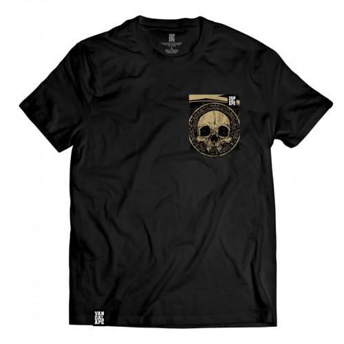 Tričko s vreckom krátky rukáv grafický dizajn Golden Skull