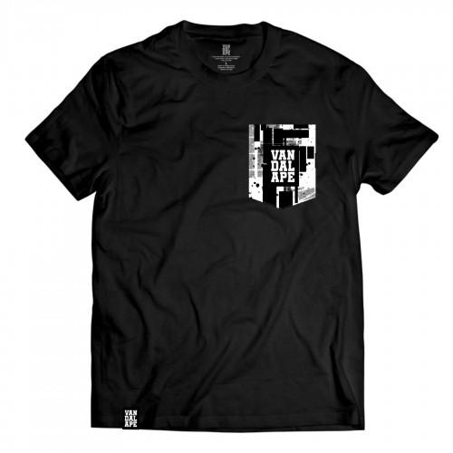 Tričko s vreckom krátky rukáv grafický dizajn VandalApe Black&White