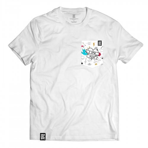 Tričko s vreckom krátky rukáv grafický dizajn I Love Mom