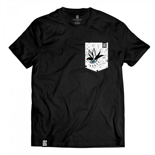Tričko s vreckom krátky rukáv grafický dizajn Old School Swallow