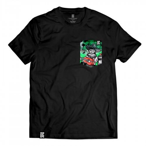 Tričko s vreckom krátky rukáv grafický dizajn Sombrero Smoker