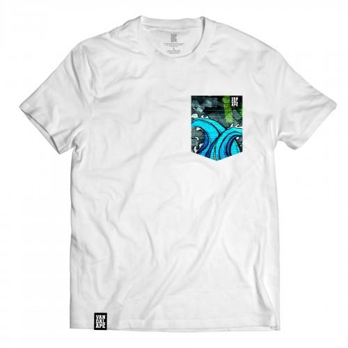 Tričko s vreckom krátky rukáv grafický dizajn Wall Waves