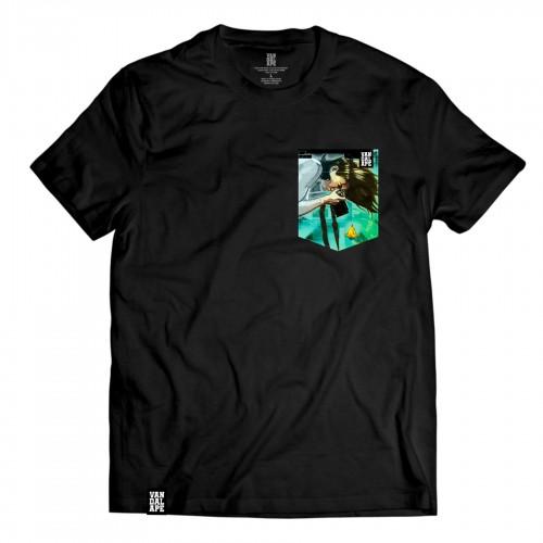 Tričko s vreckom krátky rukáv grafický dizajn Fishing