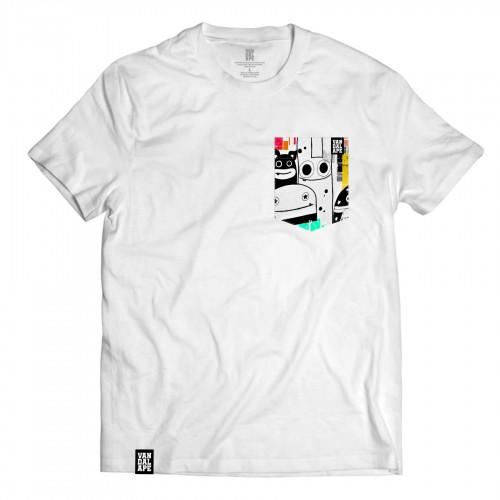 Tričko s vreckom krátky rukáv grafický dizajn Pocket Friends