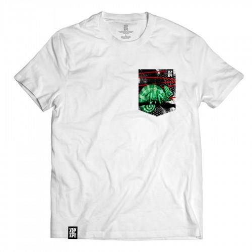 Veľkosť S - Tričko s vreckom krátky rukáv grafický dizajn Chameleon