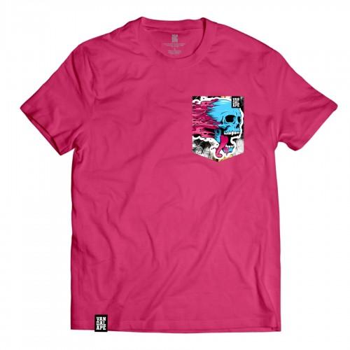 Veľkosť L - Tričko s vreckom krátky rukáv grafický dizajn Blue Skull