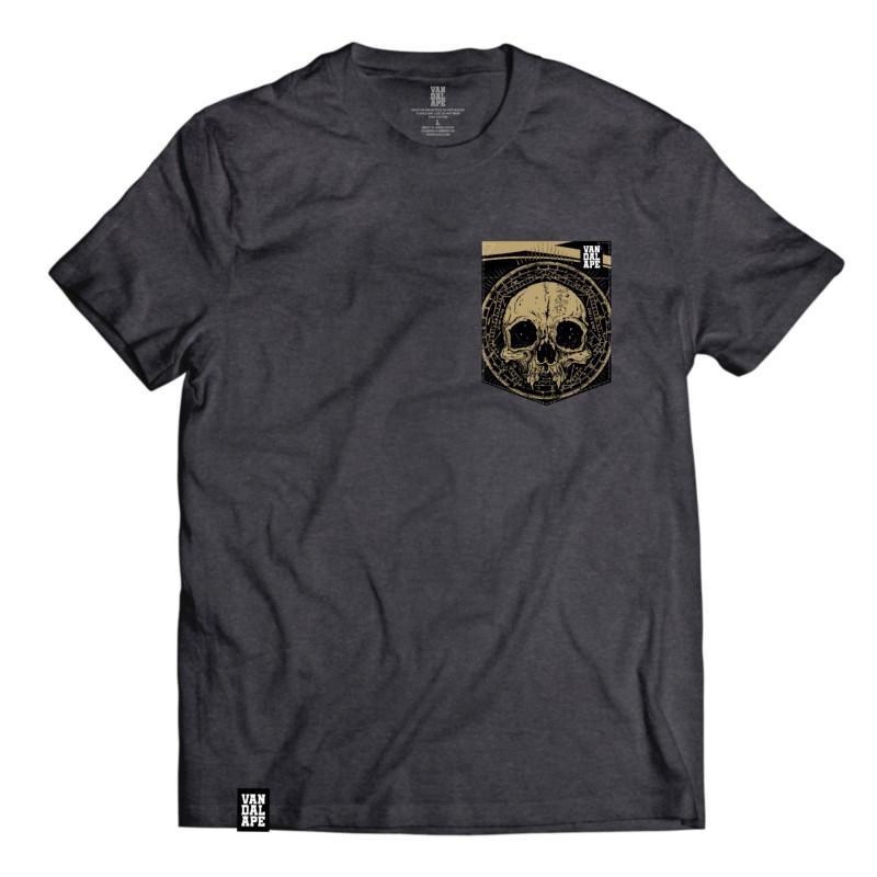 Veľkosť L - Tričko s vreckom krátky rukáv grafický dizajn Golden Skull