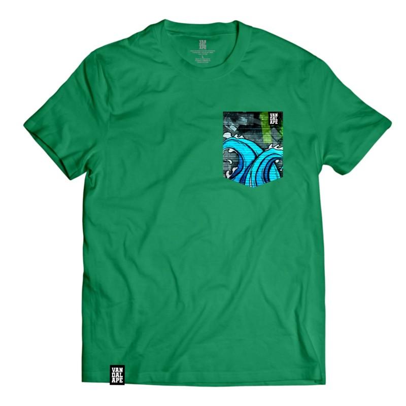 Veľkosť L - Tričko s vreckom krátky rukáv grafický dizajn Wall Waves