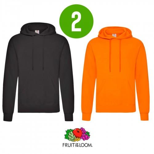 2 PACK - Pánska mikina s kapucňou HOODED SWEAT - Black, Orange