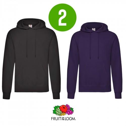 2 PACK - Pánska mikina s kapucňou HOODED SWEAT - Black, Purple
