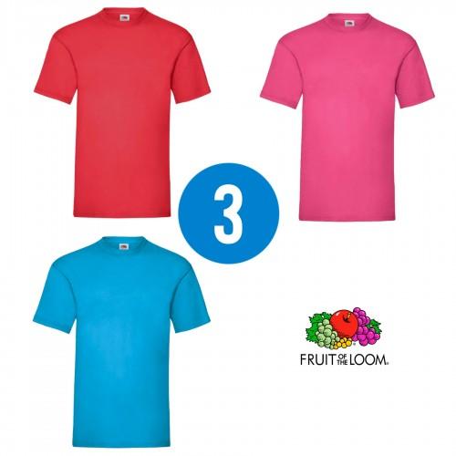 3 PACK - Pánske tričko VALUEWEIGHT T , Red , Fuchsia, Azure blue