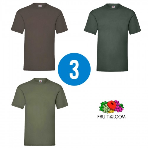 3 PACK - Pánske tričko VALUEWEIGHT T , Chocolate, Bottle green, Olive