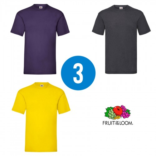 3 PACK - Pánske tričko VALUEWEIGHT T , Purple, Dark heather grey, Sunflower