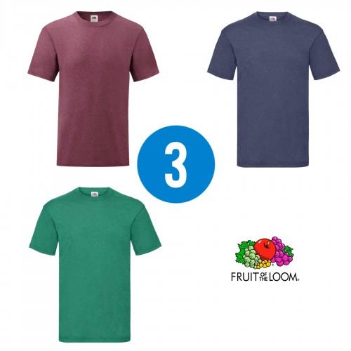3 PACK - Pánske tričko VALUEWEIGHT T , Heather burgundy, Heather navy, Heather green